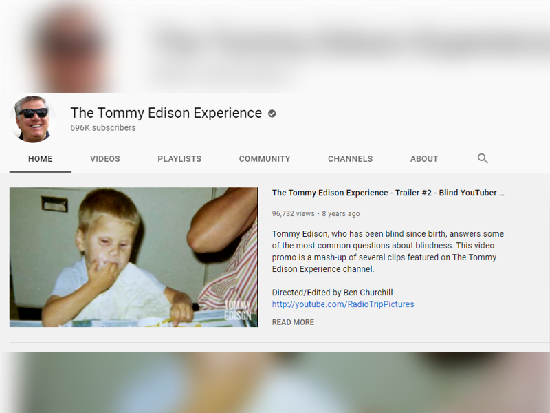 Tommy Edison visually impaired influencer